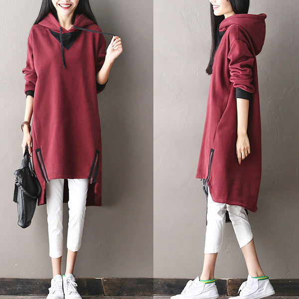 Irregular Hooded Comfortable Cotton Long Pullover