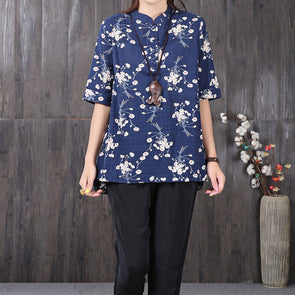 Floral Printing Stand Collar Short Sleeve Buttons Navy Blue Shirt - Buykud