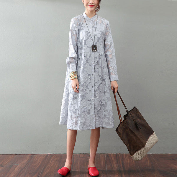Hollow Lace Loose Gray Dress
