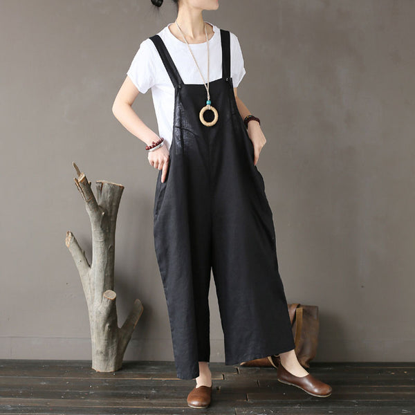 Summer Flax Wide Leg Jumpsuits Casual Black Pants - Buykud
