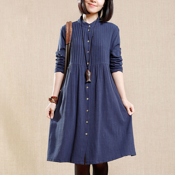 Irregular Women Spring Loose Cotton Linen Pocket Dress
