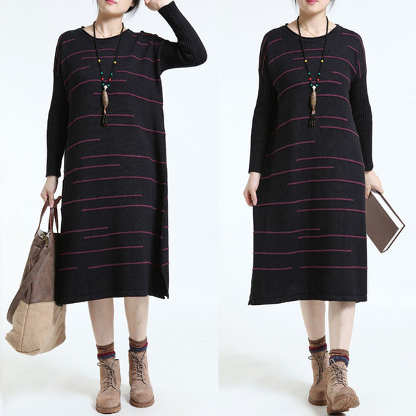 Loose Stripe Long Sweater Black