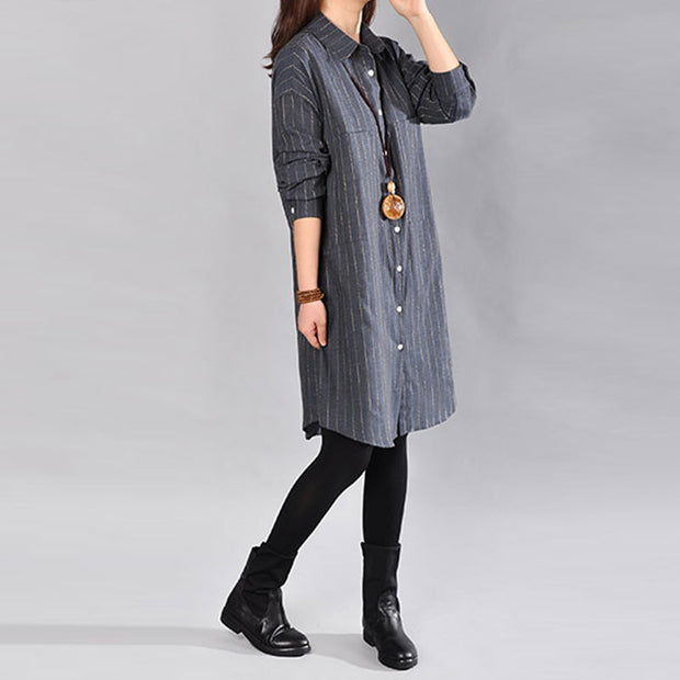 Casual Loose Stripe Cotton Blue Shirt - Buykud