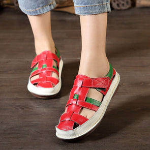 Casual Flat Heel Round Head Shoes Summer Red Sandals