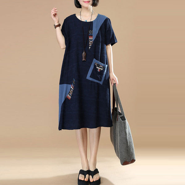 Color Blocking Retro Pocket Splicing Printing Navy Blue Dress
