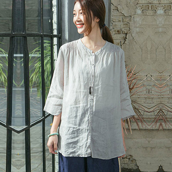 Summer Women Casual Simple Shirt