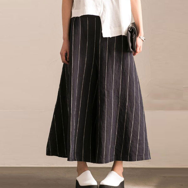 Loose Linen Women Black Micro-leg Pants