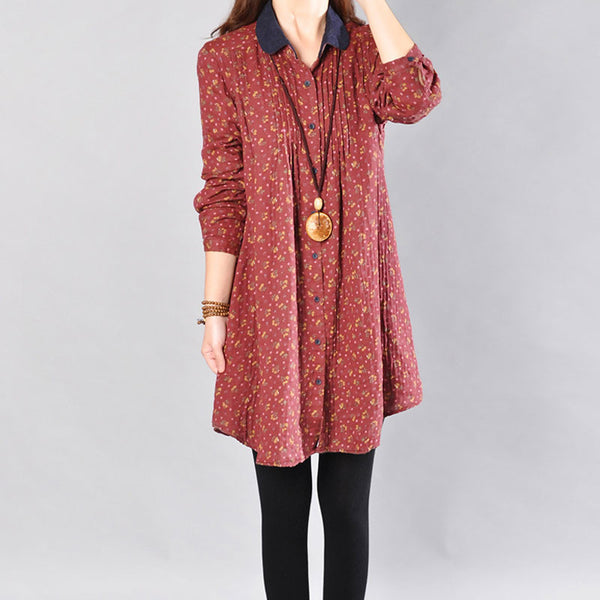 Women Printing Long Sleeves Dark Red Long Shirt