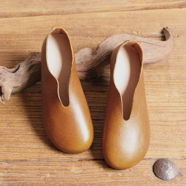 Retro Soft Leather Round Head Women Brown Slip-on Shoes - Buykud