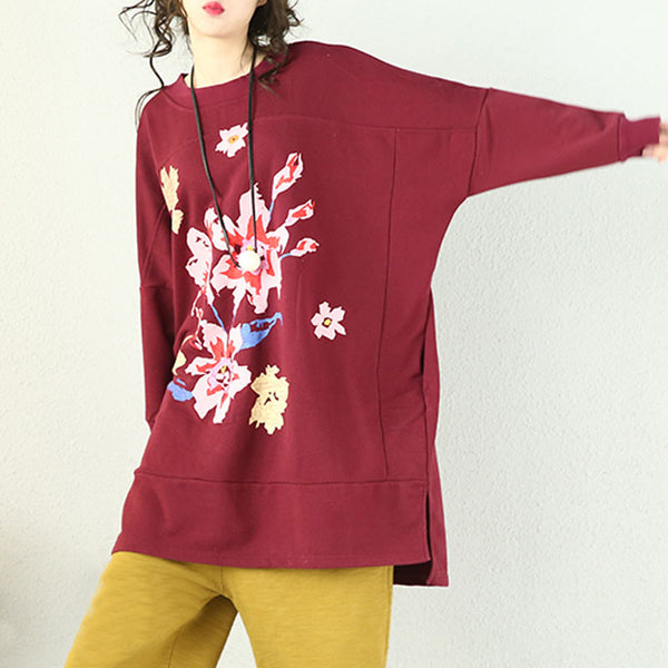 Retro Casual Printing Round Neck Purple Red Shirt - Buykud
