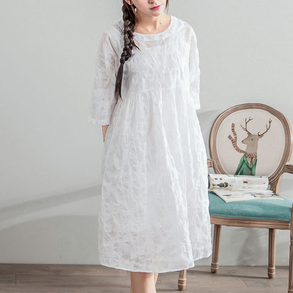Women Jacquard Dot Loose Casual Linen Cotton White Dress - Buykud