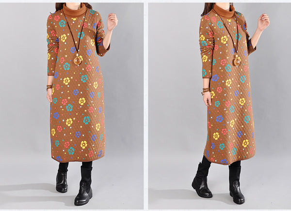 Yellow Women Loose Cotton Long Sleeve Spring And Winter Print Dress