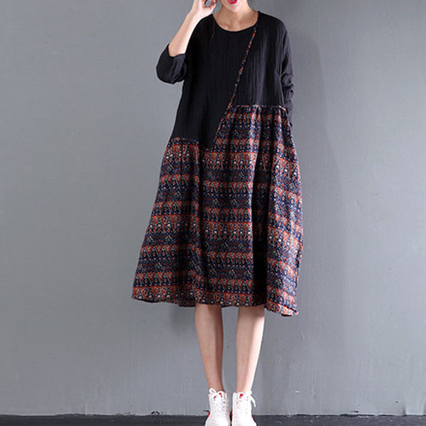 Printing Stitching Retro Big Swing Dress - Buykud