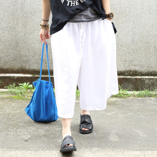 Summer Women Casual Loose Linen White Pants