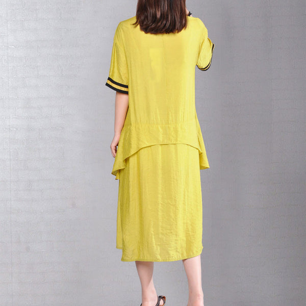 Summer Splicing Women Short Sleeves Cotton Irregular Yellow Dress - Buykud