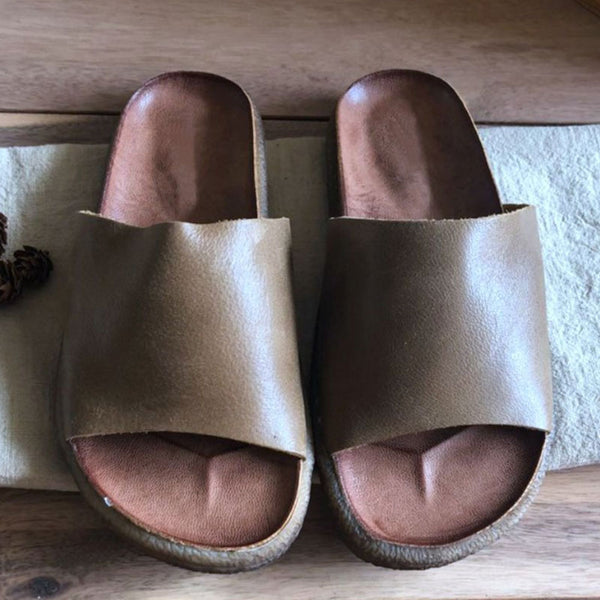 Summer Portable Comfortable Leather Khaki Slippers Shoes - Buykud