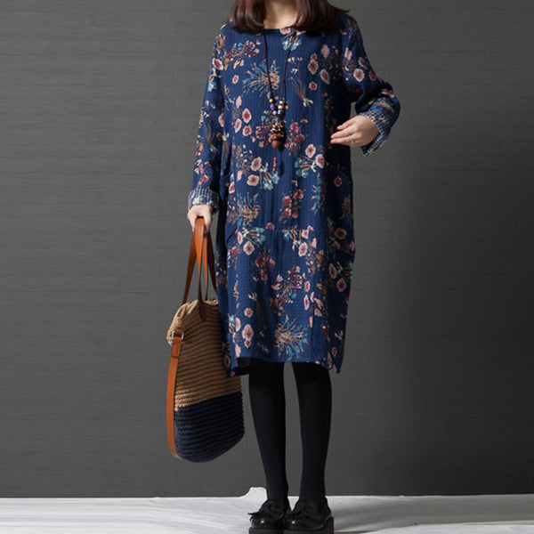 Women Loose Round Neck Floral Blue Dress - Buykud