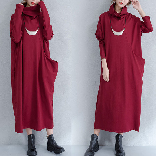 Spring And Autumn Turtleneck Wine Red Pocket Dress