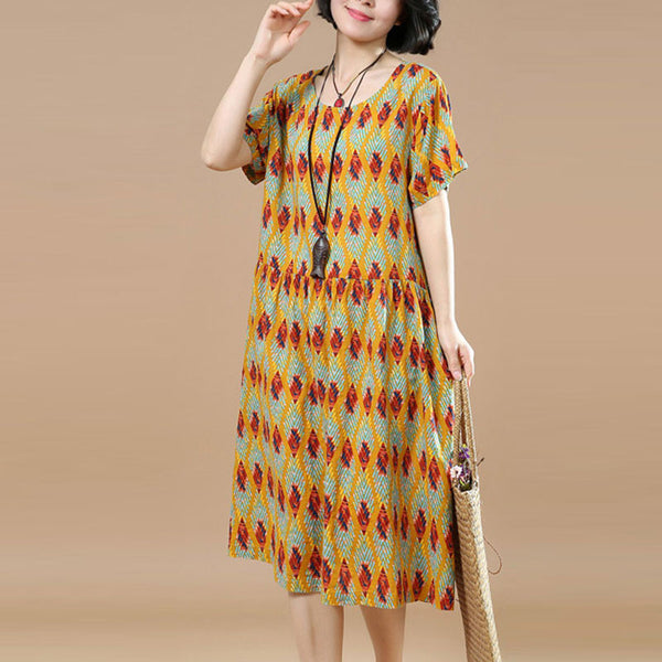 Summer Floral Short Sleeves Women Yellow Dress
