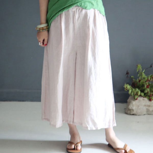 Summer Loose Casual  Linen Women Pink Beige Wide Leg Pants