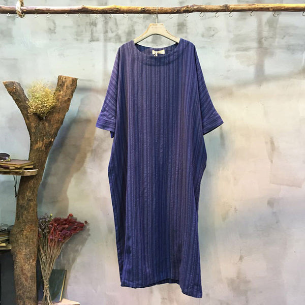 Loose Casual Round Neck Blue Dress