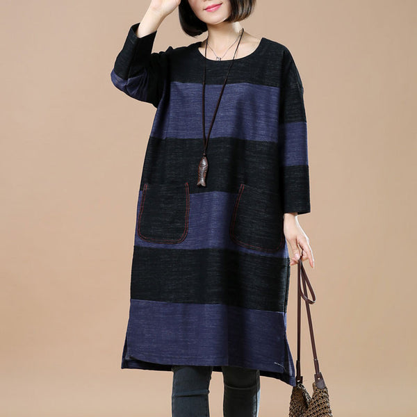 Spring Casual Loose Pocket Splicing Blue And Black Shirt Dress