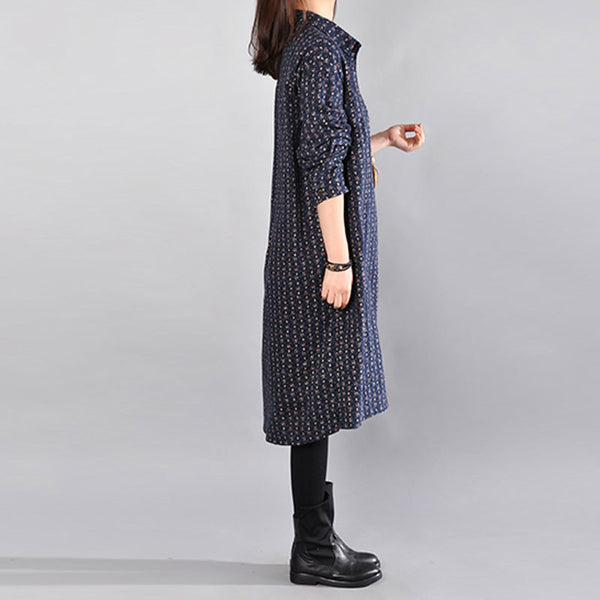 Casual Printing Cotton Navy Blue Dress - Buykud