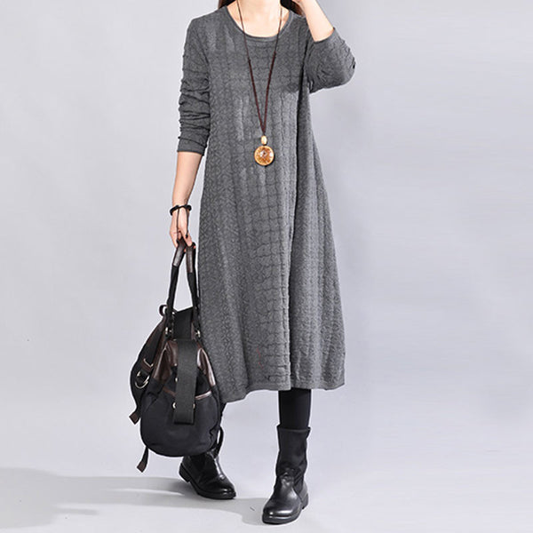 Round Neck Winter Jacquard Long Sleeves Women Gray Dress