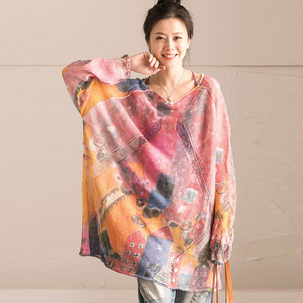 Women Retro Casual Printing Loose Holed Colorful Shirt