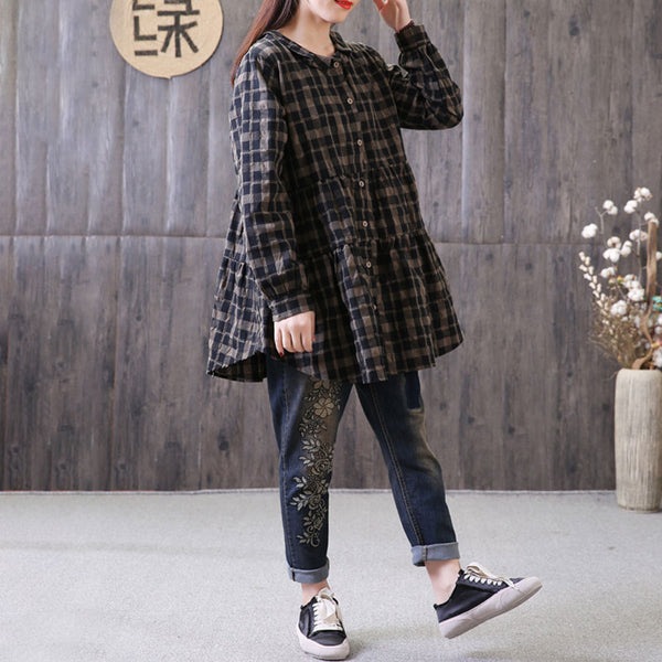 Loose Polo Collar Plaid Shirt Single Breasted Black Top - Buykud