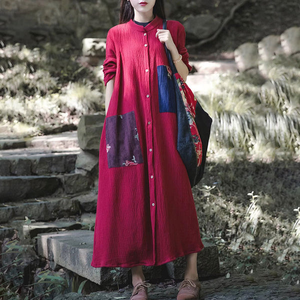 Cotton Linen Women Spring Single Breasted Red Dress - Buykud