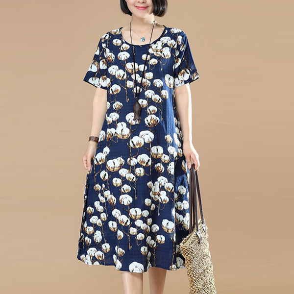 Women Printing Loose Cotton Linen Navy Blue Dress