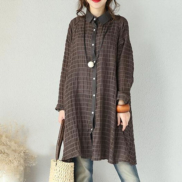 Women Casual Loose Cotton Linen Shirt Dress