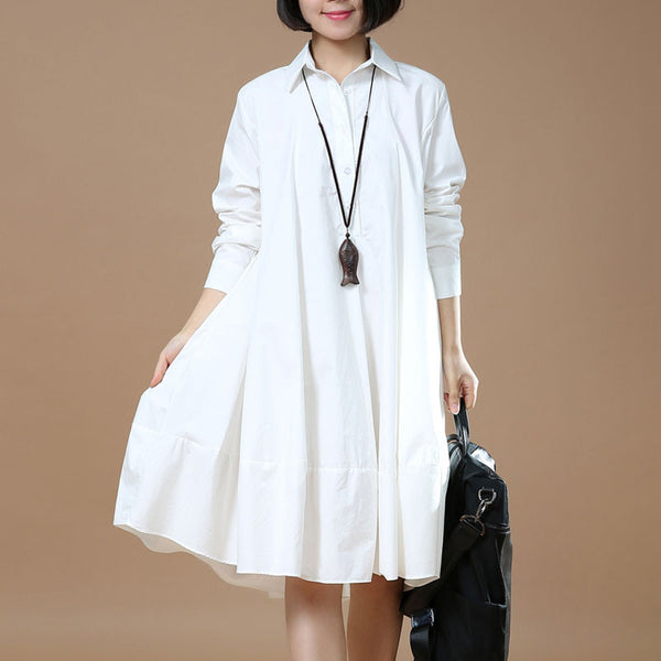 Women Cotton White Shirt Dress