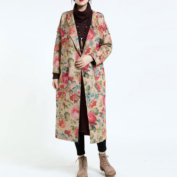 Women's Elegant Loose Flower Overcoat