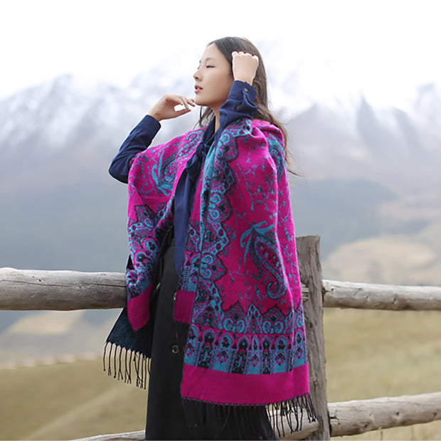 Chinese Style Flower Ethnic Winter Scarf