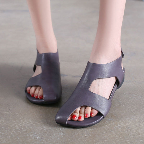 Flat Heel Sandals Women Summer Gray Leather Shoes - Buykud