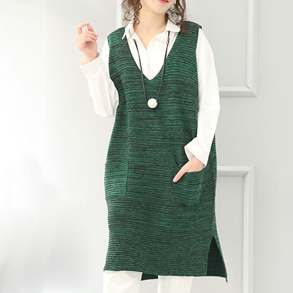 Winter Green Loose V Neck Vest