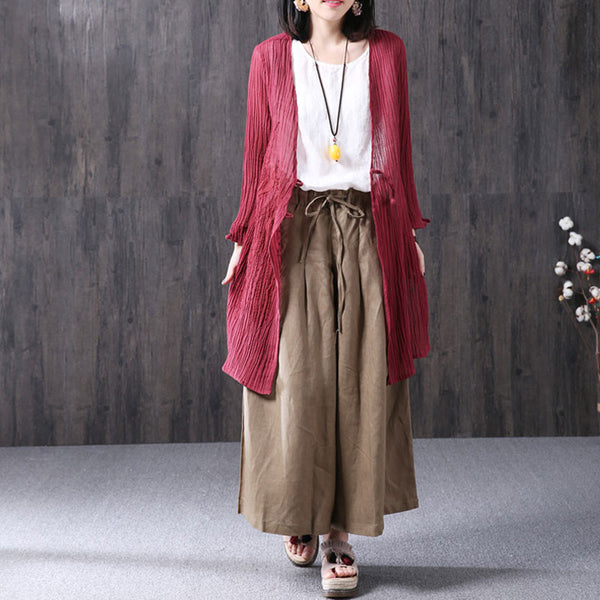 Summer Casual Loose Linen V Neck Red Coat - Buykud
