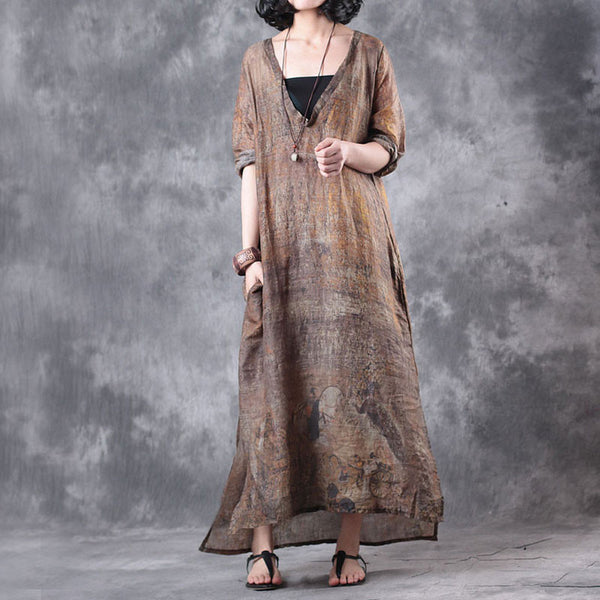 Retro V Neck Linen Summer Women Yellow Maxi Dress - Buykud