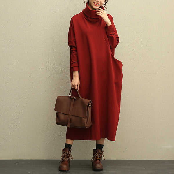Literature Turtle Neck Long Sleeves Cotton Spandex Red Women Dress - Buykud
