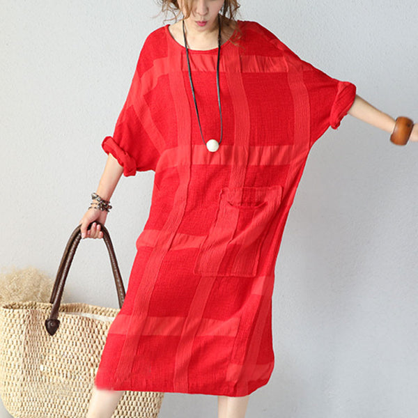 Red Cotton Linen Long Sleeve Dress