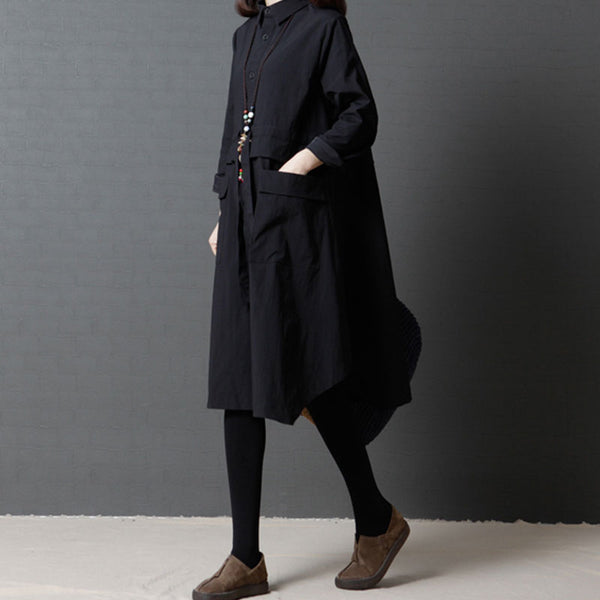 Loose Single Breasted Long Sleeve Black Shirt Dress - Buykud