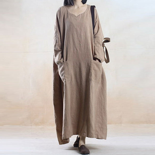 Long Sleeve Dress Loose Linen Robe