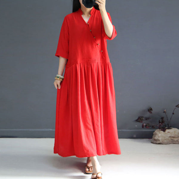 Retro Frog Women Folded Loose Silk Cotton Red Dress - Buykud