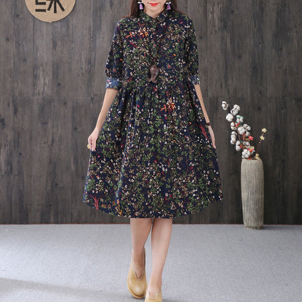 Printing Polo Collar Literature Long Sleeve Pockets Pleated Dress - Buykud