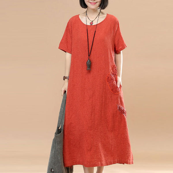Jacquard Short Sleeve Women Casual Orange Dress - Buykud