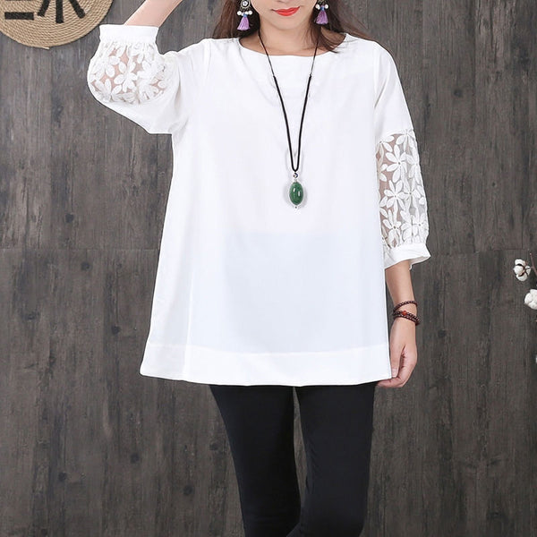 Women Hollowed Lace Chiffon Splicing Three Quarter Sleeves White Shirt - Buykud