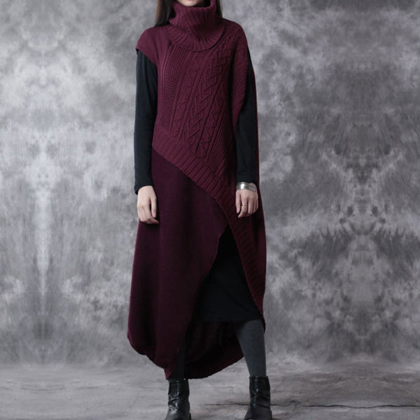 Red Wool Two Piece Sweater And Dress - Buykud