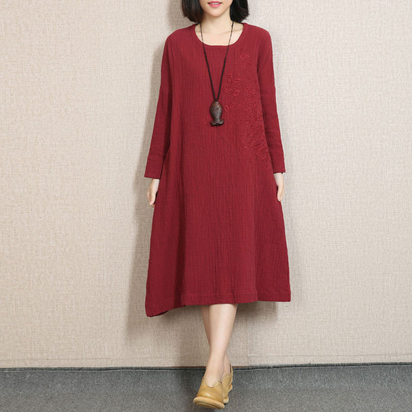 Round Neck Embroidered Linen Red Spring Dress